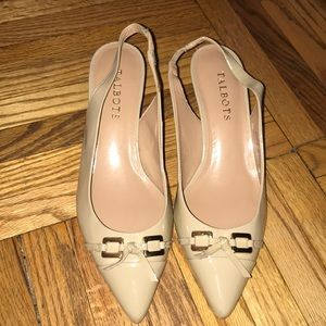 NWT Nude patent leather sling back Talbots heels